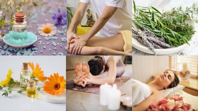 Collage de imágenes de terapias naturales
