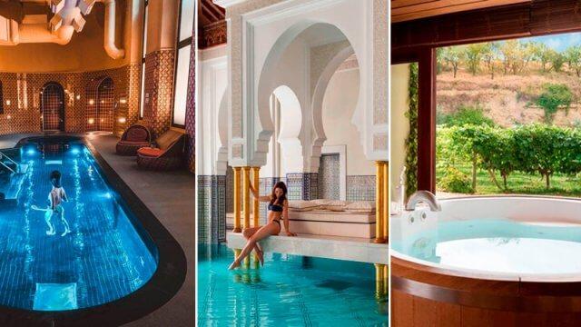 Collage con fotos de algunos de los mejores spa del mundo